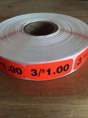 "1.25"" x .625"" 3/$1.00 MERCHANDISE LABELS 1000 PER ROLL FL RED BLACK STICKER"