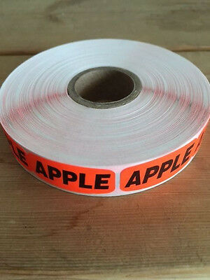 "1.25"" x .625"" APPLE MERCHANDISE LABELS 1000 PER ROLL FL RED BLACK STICKER"