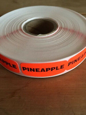 "1.25"" x .625"" PINNEAPPLE MERCHANDISE LABELS 1000 PER ROLL FL RED BLACK STICKER"
