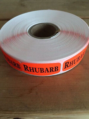 "1.25"" x .625"" RHUBARB MERCHANDISE LABELS 1000 PER ROLL FL RED BLACK STICKER"