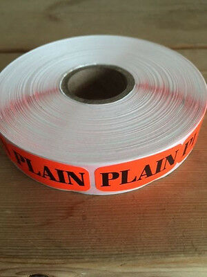 "1.25"" x .625"" PLAIN MERCHANDISE LABELS 1000 PER ROLL FL RED BLACK STICKER"