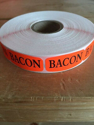 "1.25"" x .625"" BACON MERCHANDISE LABELS 1000 PER ROLL STICKER FL RED NEW"