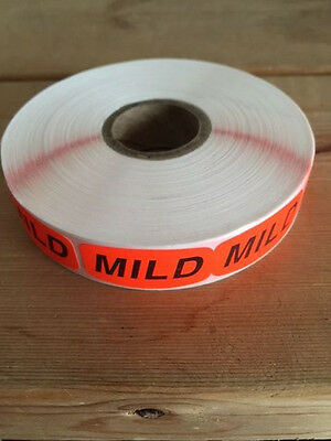 "1.25"" x .625"" MILD MERCHANDISE LABELS 1000 PER ROLL FL RED BLACK STICKER"