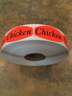 "1.25"" x .625"" CHICKEN MERCHANDISE LABELS 1000 PER ROLL FL RED BLACK STICKER"