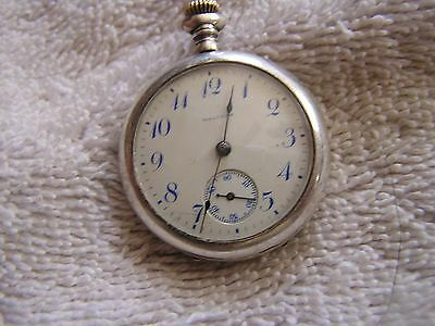 Antique Women's Ladies Waltham Pocket Watch Sterling Silver 15 Jewels