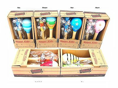 Bn Wooden Maraca & Bell Stick Set In Box - Assorted - Great Gift Idea