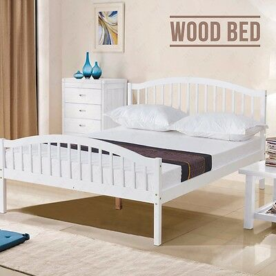 4FT6 White Solid Pine Wood Double Bed Frame Natural Pine Bedroom Furniture
