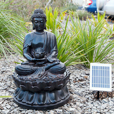 Buddha Solar Water Fountain Feature for Garden Pond or Indoor Pump LED Light