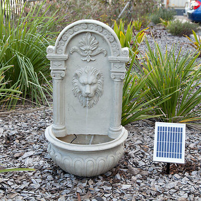Solar Powered Decorative Lion Outdoor Wall Feature Fountain w/ Panel Pump Garde