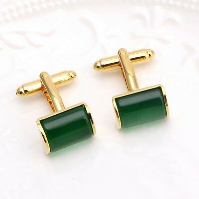 1Pair Vintage Green Opal Stone Cufflinks Mens Wedding Groom Shirt Cuff Links