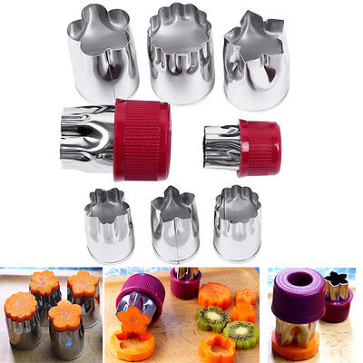 Stainless Steel 8pcs Cutter Fruit Flower Shape Vegetable Slicer Food Decor Mold