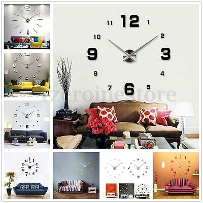 DIY 3D bricolaje Reloj de Pared 3D Alumino Pegatina Número Wall Clock Decoración