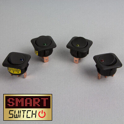 4 x SmartSwitch 12v/25A Illuminated LED Square Panel Switch Rocker Switch
