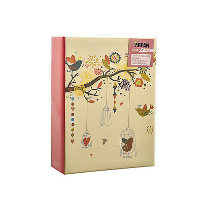 Arpan 6x4 Small Slip In Photo Album For 100 Holds - Vintage Birds Cage- CL-LB100
