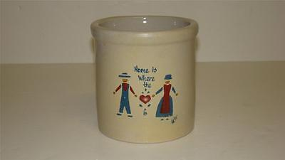 """VTG Robinson Ransbottom Pottery Crock 2 QT High Jar """"Home is Where the Heart is"""""""
