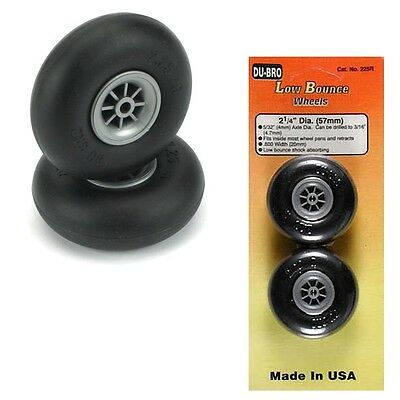 "Dubro 225R Low Bounce Smooth Airplane Wheels 2-1/4"" (2) Tires Trainer / Sport"