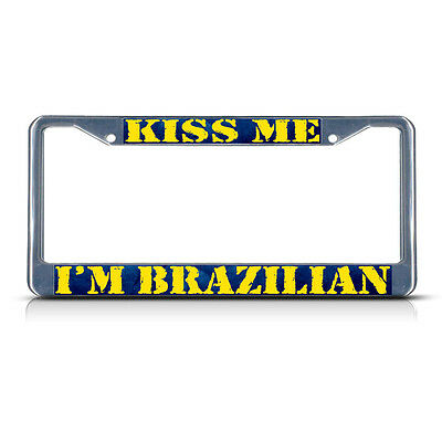 RED LIPS KISS Metal License Plate Frame Tag Holder Two Holes