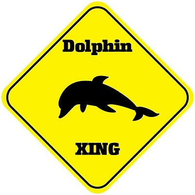 Dolphin Crossing Funny Metal Aluminum Novelty Sign