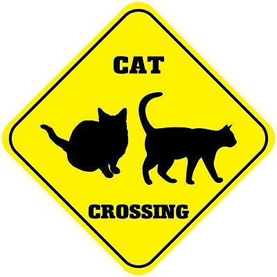 Metal Warning Placard CAT CROSSING Pet Safety Sign Fun Kitty Cat Decor