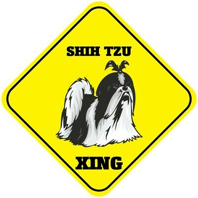 Shih Tzu Xing Crossing Funny Metal Aluminum Novelty Sign