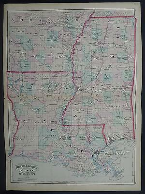 Asher & Adams Antique State Map 1872 Louisiana & Mississippi N1#42