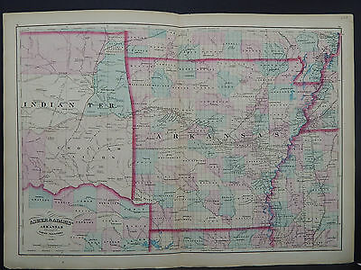 Asher & Adams Antique State Map 1872 Arkansas, Indian Territory N1#40