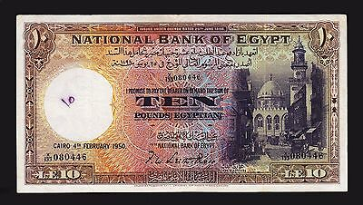EGYPT 10 POUNDS 4-2- 1950 VF P.23c Sign.LEITH-ROSS - MOSQUE OF SULTAN