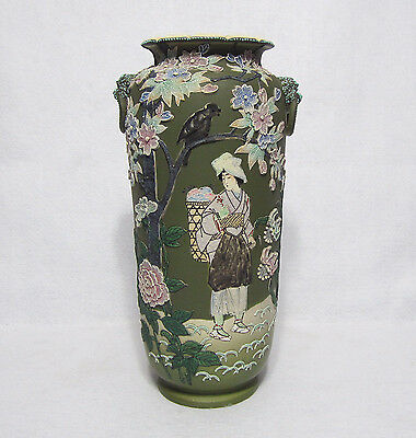 "Large 15"" Nippon Moriage Vase with Painted Gardening Lady and Lion handles"