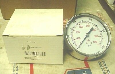 "New  0-1000 Psi Pressure Gauge 3 1/2"" Air Or Hydraulic Gage 1/4"" Npt Threads"