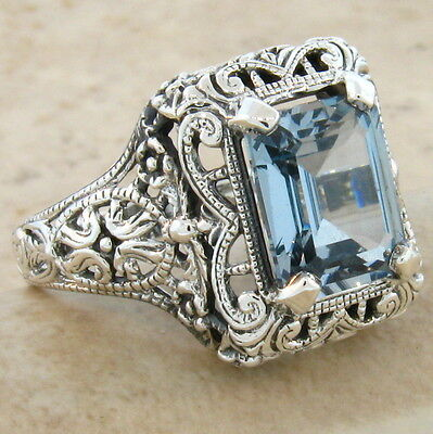 4 Ct SKY BLUE SIM TOPAZ ANTIQUE STYLE .925 STERLING SILVER RING SIZE 7.75,  #348
