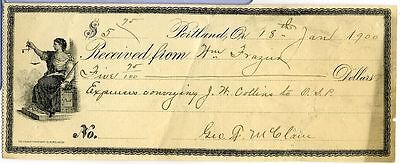 Receipt For Conveying Prisoners To Oregon State Penitentary