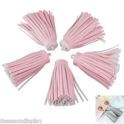25PCs Pink PU Leather Suede Tassel Keychain DIY Cellphone Straps Jewelry Charms