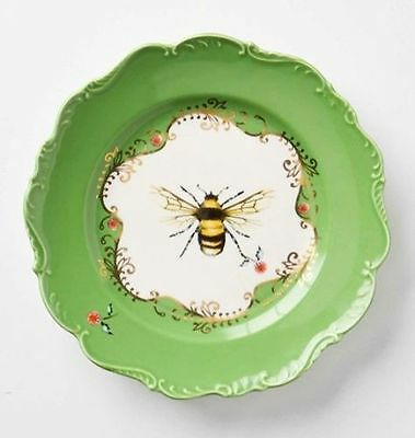 NWT Anthropologie Lou Rota Natural World Dessert Plate Bee Fly Colorful Art