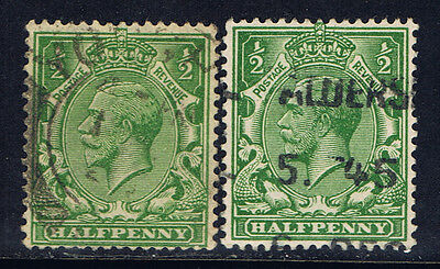 Great Britain #151(8) 1911 1/2 pence green George V 2 Used CV$9.00