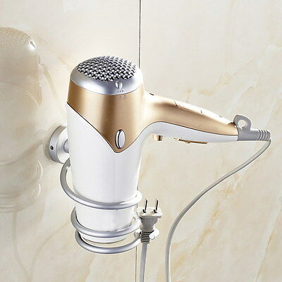 Hairdryer Aluminum Wall Mounted Holder Tool Organizer for Salon Spiral Bathroom