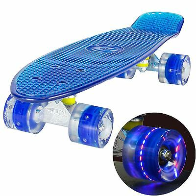"Land Surfer Cruiser Skateboard 22"" CLEAR BLUE BOARD LED BLUE WHEELS"