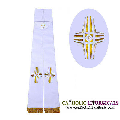 New White Clergy Priest Stole - Cross design Church Stole