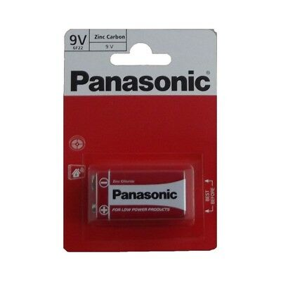 2 Panasonic 9V Batteries Zinc Square Block Carbon  Ideal For Smoke Alarms NEW