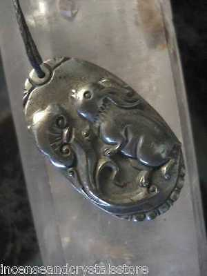 IRON PYRITE 'Energy Shield/Diplomacy' RABBIT Carved 79 cts Pendant on Cord