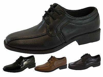 Boys Faux Leather School Shoes Lace Up Prom Formal Wedding Brogues Size