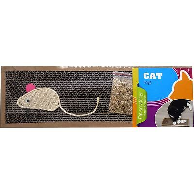 CAT & KITTENS SCRATCHER SCRATCHING BOARD 38 x 13cm WITH CATNIP & ROPE MOUSE
