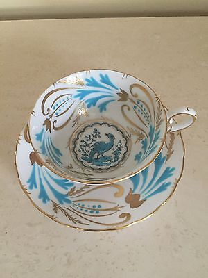 Royal Chelsea China,  Turquoise Bird of Paradise Footed Cup & Saucer