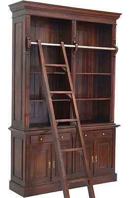 MAHAGONI BÜCHERSCHRANK mit ANLEGELEITER CLASSICAL BOOK-STORAGE BÜCHERREGAL MÖBEL