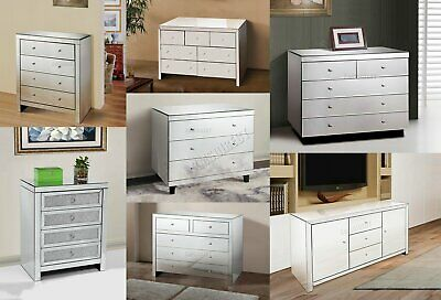FoxHunter Mirrored Furniture Glass With Drawer Chest Cabinet Table Bedroom New
