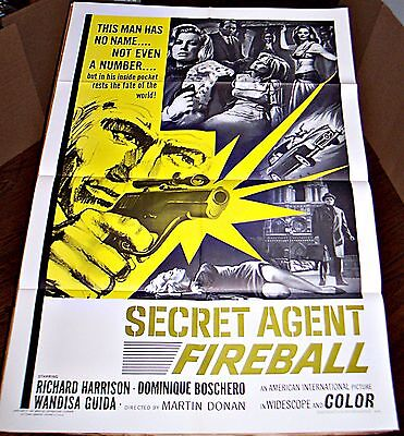 Secret Agent Fireball (1966) Richard Harrison Spy Orig 27X41 1-Sheet Poster