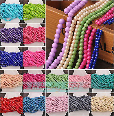 NEW 100pcs 4mm 6mm 8mm Round Glass Charms Loose Spacer Beads Jewelry Findings
