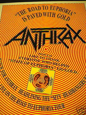 ANTHRAX Road To Euphoria Paved W/ Gold PROMO POSTER AD