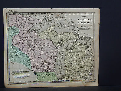 Antique Map 1844 Smith's Geography, Michigan, Wisconsin