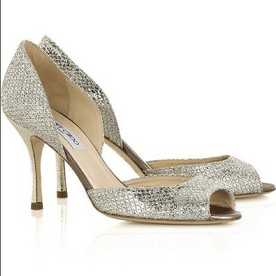 817769299dba JIMMY CHOO CHAMPAGNE Glitter Fabric Platform Sandal Shoes size 39.5 ...