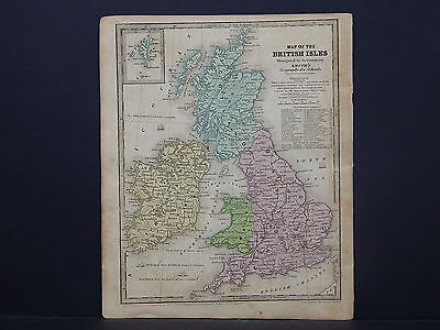 British Isles, Ireland, Scotland, England Map 1839 Smith's Geography R9#69
